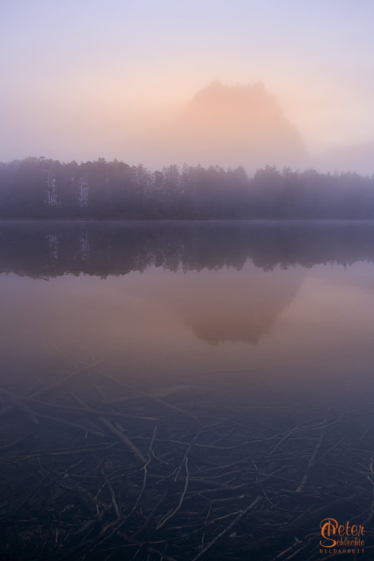 Almsee im Morgennebel Hochformat