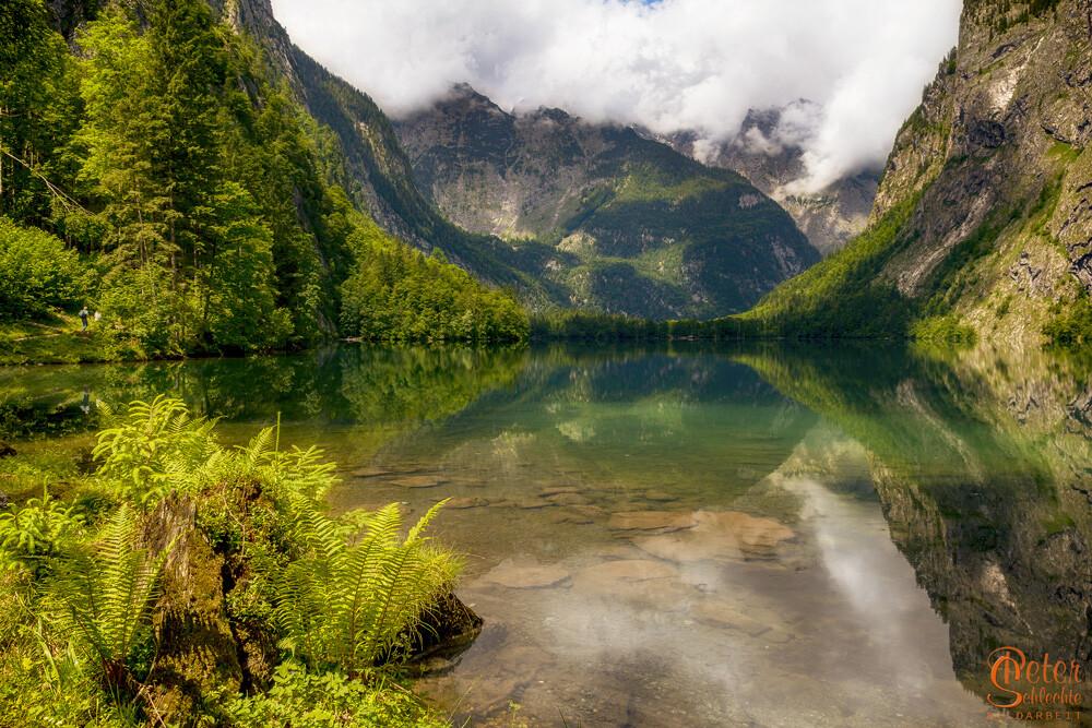 Obersee bei Berchtesgaden mit Blickrichtung Watzmannmassiv.