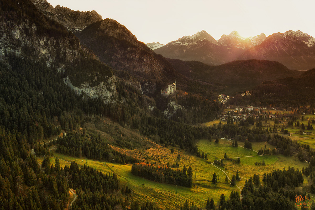Das Tal der Schlösser. Neuschwanstein und Schloß Hohenschwangau.