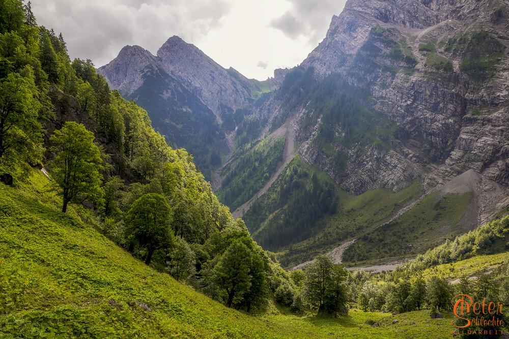 Das Tortal, ein Nebental vom Rissbachtal im Karwendel.