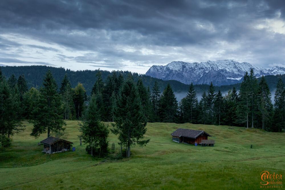 Hütten in der Nähe vom Geroldsee.
