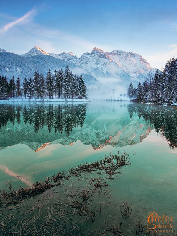 See in der Nähe von Krün mit Blickrichtung Karwendelgebirge.