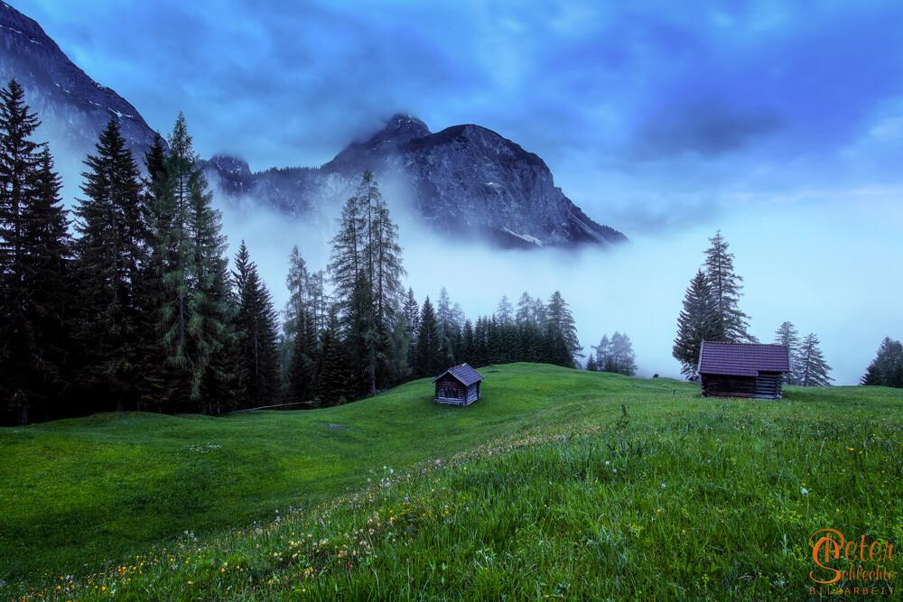 Auf dem Rückweg vom Seebensee nach Ehrwald zur späten Abendstunde.