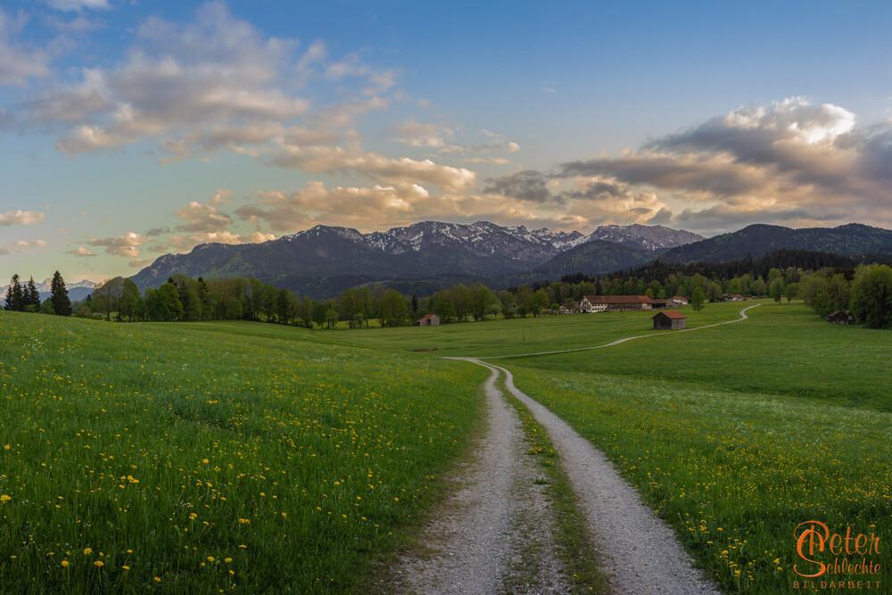 Der Ausblick von Wackersberg im Isartal Richtung Brauneck und Benediktenwand.