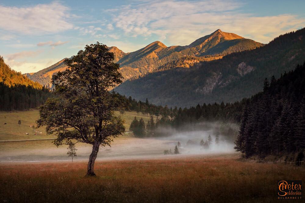 Das Rissbachtal im Karwendel zur Morgenstunde kurz vor dem Enger Grund.