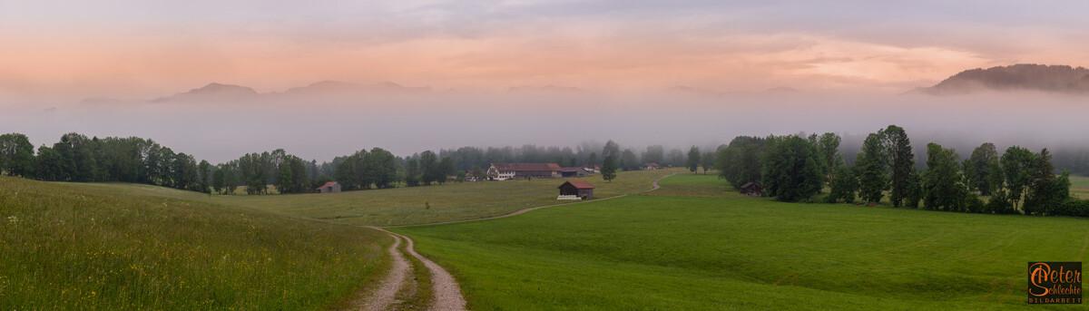 Blick von Wackersberg in Richtung Benediktenwand.